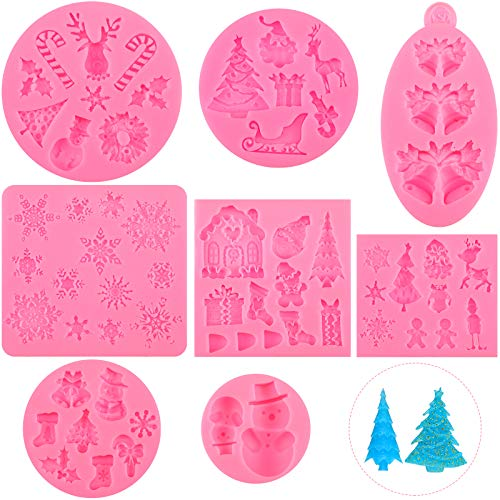8 Pieces Christmas Reusable Silicone Fondant Molds, Santa Claus Snowflake Christmas Tree Reindeer Candy Bell Chocolate Silicone Molds Baking Tool for Xmas Birthday New Year Party Cake Decoration