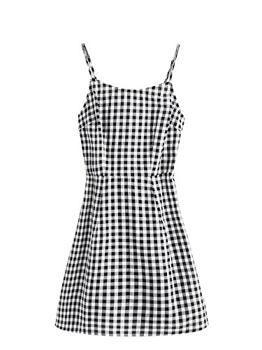 SweatyRocks Women's Spaghetti Strap Lace Up Back Casual Short Mini Gingham Dress Black and White S