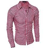 Moda Hombre Ropa Slim Fit Hombres Camisa de Manga Larga Hombres Plaid Algodón Casual Hombres Camisa Social Tallas Grandes XXL Rojo