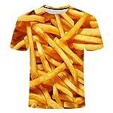 jgfjgh T-Shirt a Maniche Corte con Stampa 3D Patatine Fritte a Maniche Corte Nuova Estate Uomo, Come Immagine, XL