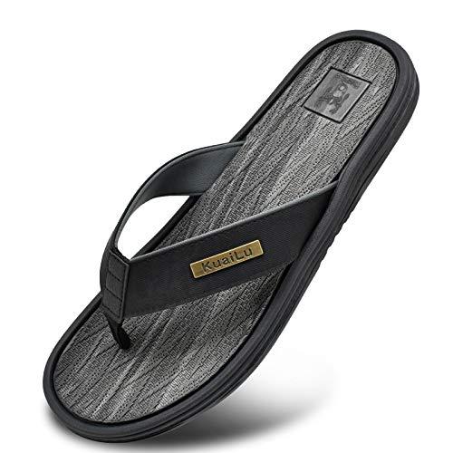 Chanclas Playa Hombre Deporte Cuero Comodo Soporte Plano Sandalias Verano Piscina Antideslizante Flip Flops Negro Gris Talla 42