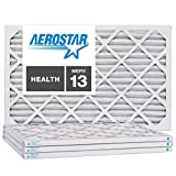 Aerostar 19 7/8x21 1/2x1 MERV 13, Pleated Air Filter, 19 7/8 x 21 1/2 x 1, Box of 4, Made in The USA