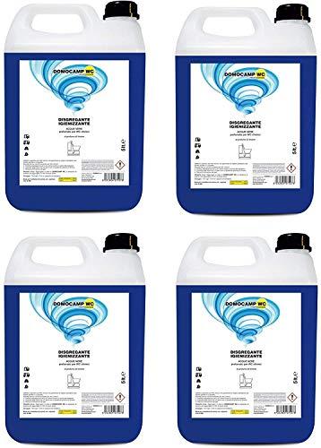 4 Pezzi da 5 Litri DOMOCAMP WC Liquido Disgregante per Wc Chimico – per Serbatoio Camper, Gabinetto da Campeggio, Acque Nere, Cesso Portatile