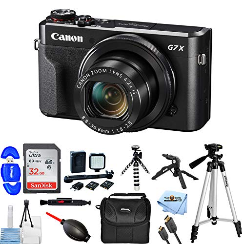 Canon PowerShot G7 X Mark II Digital Camera 1066C001 Bundle with 32GB SD, LED Light Kit, 57