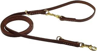 teck Genuine Leather Multi Function Dog Leash Dual Handle Dog Leash Adjustable Schutzhund Lead