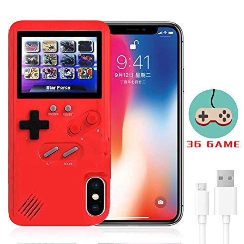 Gameboy Case for iPhone,LucBuy Retro Protective Cover Self-Powered Case with 36 Small Game,Full Color Display,Shockproof Video Game Case for iPhoneX/Xs/MAX/Xr/6/7/8Plus/11/Pro/Max