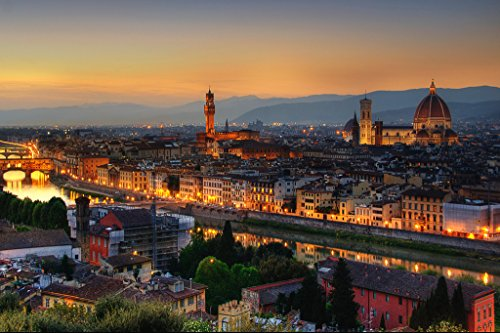 Florence Italy at Dusk with Cathedral of Saint Mary of the Flower Photo Art Print Poster 18x12