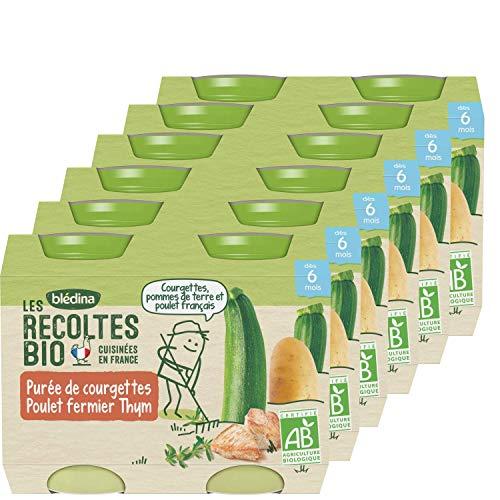Blédina - Les récoltes bio - Petits pots pour bébé - Courgettes Riz Poulet Thym Repas Viandes/Poissons pack of 12 (2X6)