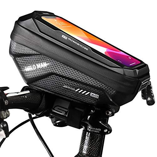 TEUEN Bolsa Bicicleta Impermeable Bolsa Movil Bici con Ventana para Pantalla Táctil, Bolsa para Cuadro Bicicleta Montaña para Smartphones de hasta 6,5' (Negro X1)
