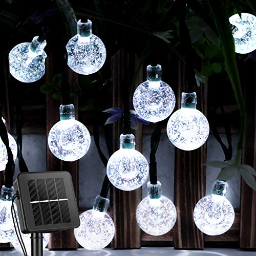 Solar String Lights Outdoor 60 Led 35.6 Feet Crystal Globe Lights with 8 Lighting Modes, Waterproof Solar Powered Patio Lights for Garden Yard Porch Wedding Party Decor (Pure White)