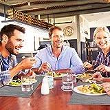 Tencoz Tischset, Platzdeckchen Platzset rutschfest Abwaschbar PVC Abgrifffeste Hitzebeständig Platzdeckchen Set von 4 (44 x 30cm) und Tischläufer 135 und Untersetzer Set von 4 für Küche - Silber Grau - 6