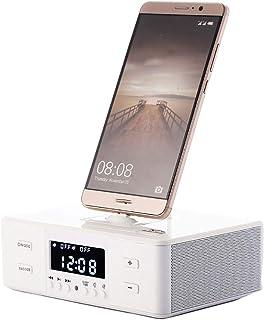 Reloj Despertador Altavoz Bluetooth Junto A La Cama con Cargador USB Y Carga InaláMbrica Qi, EstacióN De Carga InaláMbrica...