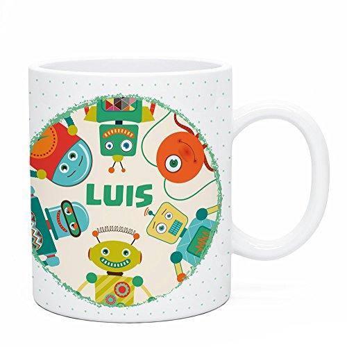 Regalo Original Taza de plástico Infantil Personalizada con Nombre y Pandilla Robot...