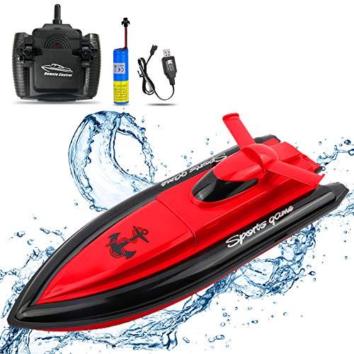 ERollDeep RC Boot Ferngesteuerte Boote für Kinder, 2.4GHz Hochgeschwindigkeits-Fernbedienung Rennboot für Pools Seen Outdoor-Rot (funktioniert nur im Wasser)