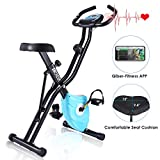 ANCHEER Magnetic Resistance Exercise Bike, Folding Indoor Upright Bike with App Program, Compact Recumbent Total Body Workout Bike with Tablet Stand & Large and Comfortable Seat