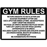 Monsety Metallschild mit Sprüchen Gym Rules Return Hantelstange After Use Sanitize Wandschild Poster