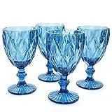 Werner Voss Juego de 4 copas de vino azul, copas de agua, vino blanco, vino tinto, cristal, rústico, moderno, rústico, 250 ml