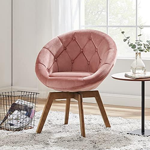 Volans Mid Century Modern Velvet Tufted Round Back Upholstered Swivel Accent Chair Pink with Wood Legs for Living Room Bedroom Vanity Desk