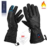 Kamlif Heated Gloves for Women Heat Touch Screen Leather Gloves Electric Rechargeable Battery Powered Ski Gloves Hand Warmer in Winter Cold Weather Outdoor Activities