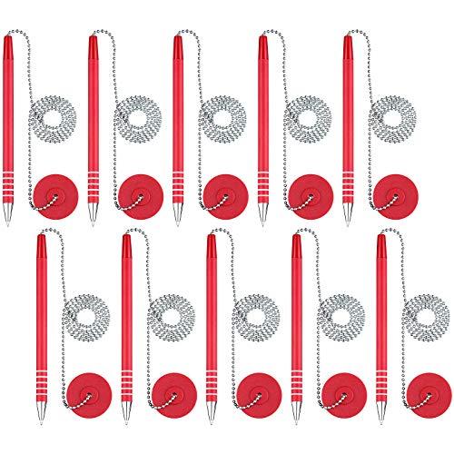 10本 安全ペン 粘着ペンチェーン セキュリティペンホルダー付き ホームオフィス用品 (レッドインク)