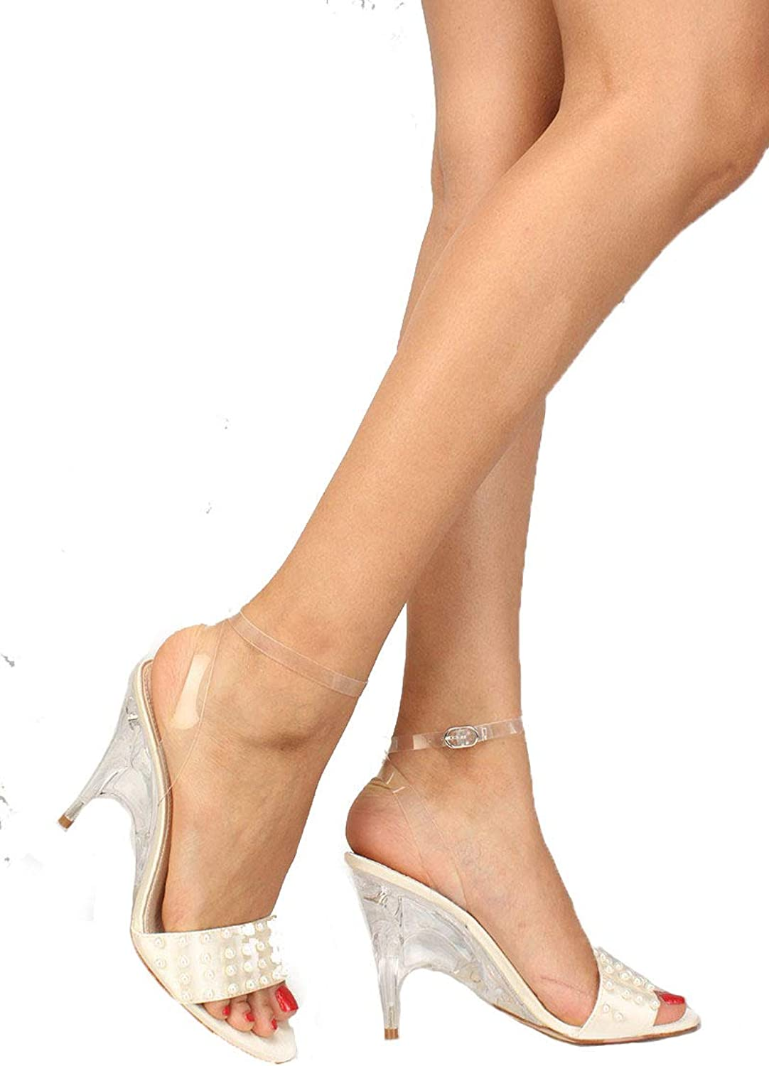 Pearls Clear Heel Open Toe Sandal Women's