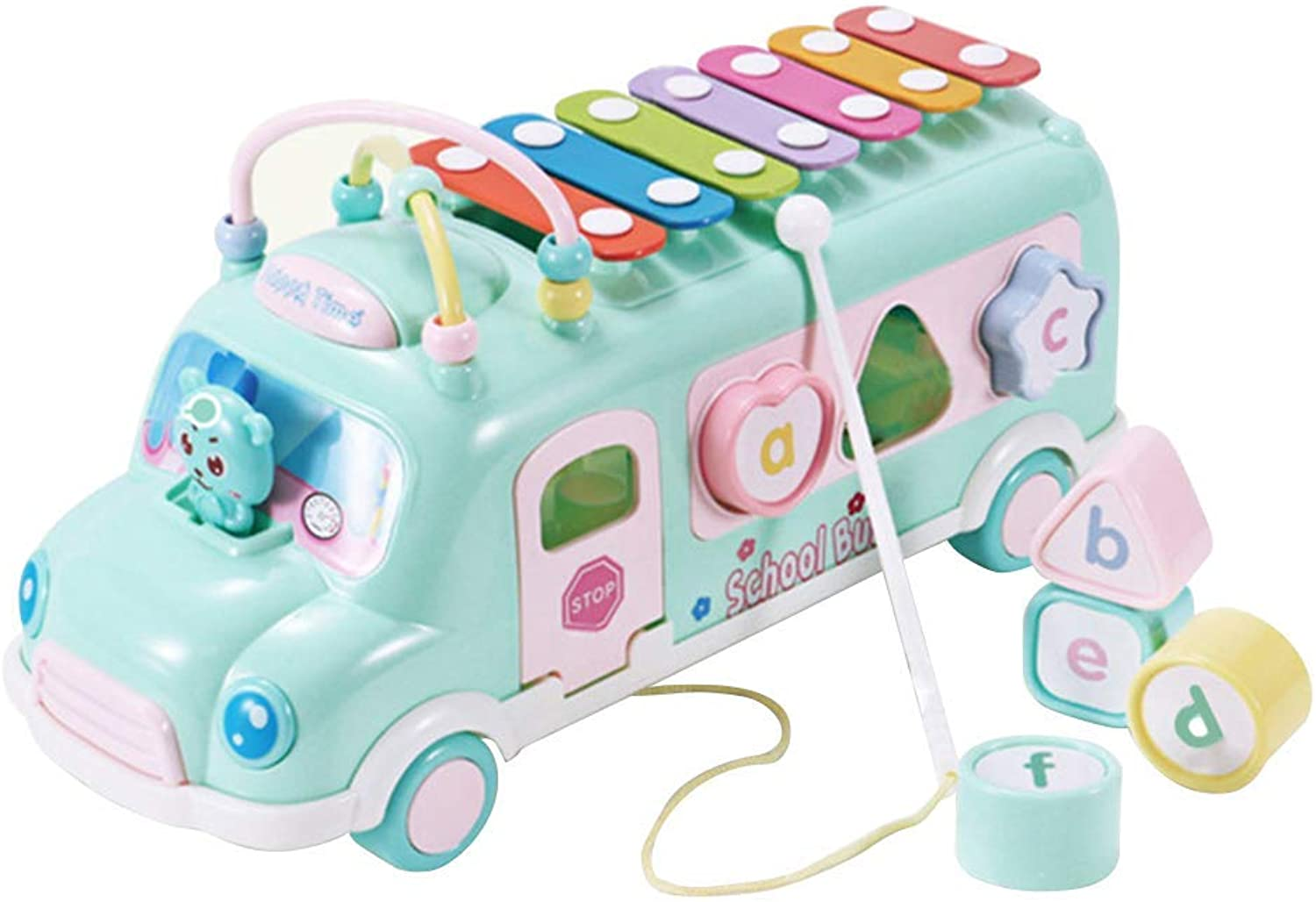 Intellectual Piano Bus Toy Knocking Piano Music Educational Toys for Baby Kids
