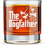 Dog Dad Gifts - The Dogfather - Etched 10.25 Whiskey Rocks Glass, Funny Dog Lovers Gifts For Men - Father's Day Gift From Dog or Wife