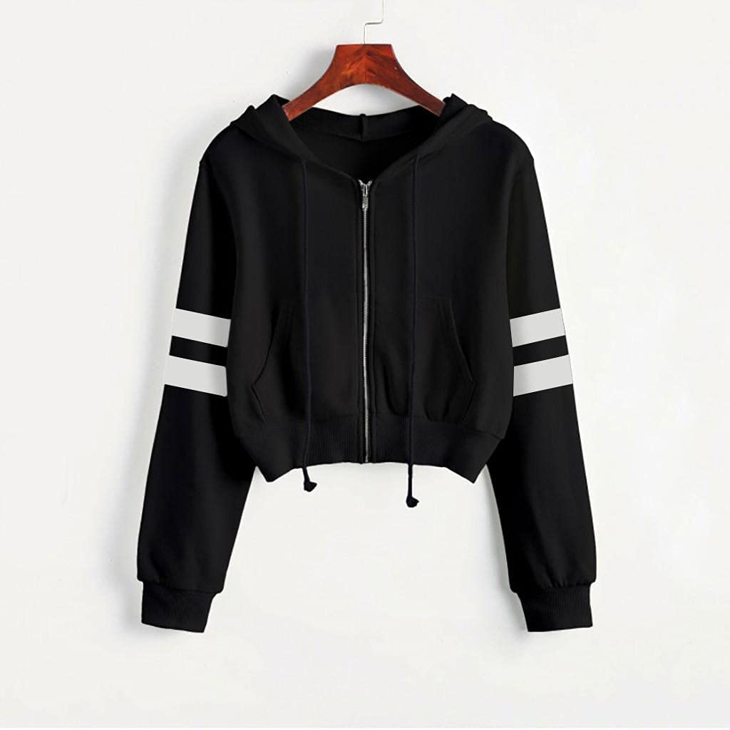 Womens Hoodies Zip Up, Women Fashion Solid Color Pullover Shirts Teen Girls Crop Tops Blouse Zip Up Hooded
