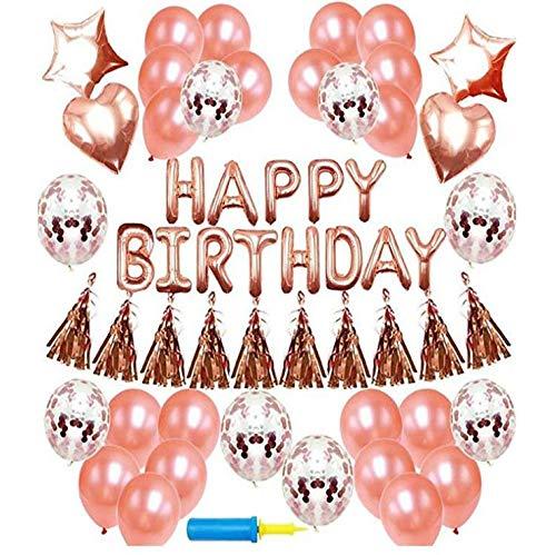 ZHW Geburtstagsdeko Girlande Ballons Roségold 48 Stück Partyzubehör Sets,Einschließen Geburtstagsbanner,Konfetti Luftballons Für Mädchen Und Jungen Party