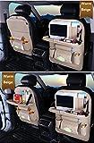 ZHCJH PU-Leder Auto Rücksitz-Organizer,Falten Wasserdicht Premium Rückenlehnenschutz, Kick-Matten-Schutz In Universeller Passform(2Pcs),White