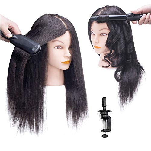 SOPHIRE 100% Real Hair Mannequin Head with Stand, Hairdressers  Practice Training Head and Cosmotology Doll Head for Hairstyling and Braid - Natural Black