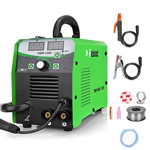Mig Welder Machine IGBT Inverter Flux Core RBM1300 Gas/Gasless Lift Tig MMA Mig Welding Machine AC 220V Multiprocess Welder Solid Wire MIG Welding Machine Newbie