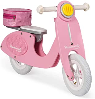 Janod Mademoiselle Pink Scooter Balance Bike – Retro-Style Adjustable Wooden Beginner Bike with Ergonomic Handles - Encourages Kids Balance and Coordination - Ages 3+