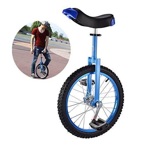 HWF Einrad Einstellbar Kinder Einrad 16/18 Zoll Balance Übung Spaß Fahrrad Fitness, für Kinder Von 9-14 Jahren, Bequemer Sitz und Rutschfestes Rad (Color : Blue, Size : 18 Inch Wheel)