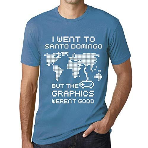 Hombre Camiseta Vintage T-Shirt Gráfico I Went To Santo Domingo Azul