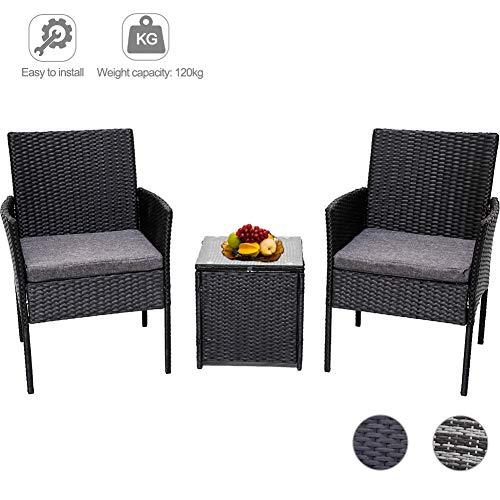 DREAMO Garden Furniture Sets Patio Rattan Table and Armchairs Bistro Set 3 Piece Black