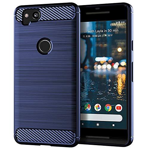 Google Pixel 2 Case, EGALO Slim Thin Carbon Fiber TPU Shock Absorption Anti-Scratches [Anti-Fingerprint] Flexible Protective Cases Cover for Google Pixel 2 (Navy)