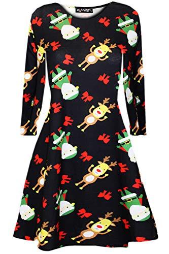 Fashion Star Women Xmas Baby Reindeer Penguin Swing Dress Reindeer & Elf Black Plus Size (UK 20/22)