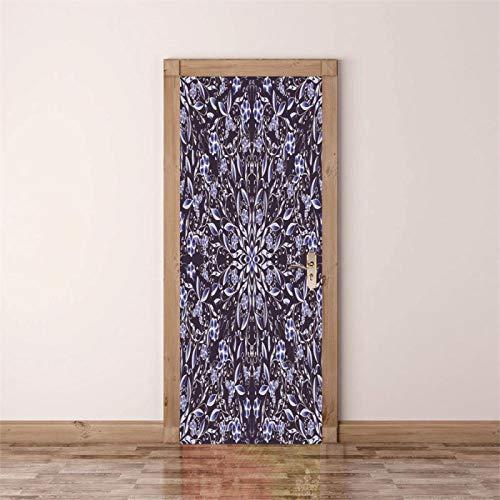 Fantxzcy adesivi per porte interne Viola bello fantasia fiori 80x200cm Carta da parati per porta 3D Carta da parati per porta autoadesiva rimovibile Decalcomania per porta porta arte Adesivi murali pe