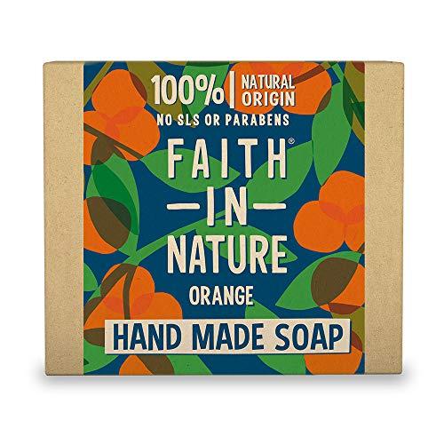 Faith In Nature Natürliche Orangen Handseife, Entgiftend, Vegan & Ohne Tierversuche, Frei von Parabenen und SLS, 100 g