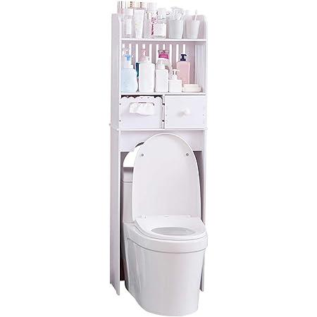 Mueble de almacenaje superior para el inodoro, armario sobre pie, estantería de cuarto de baño con cajón y 2 estantes de WPC, fácil de montar, para ...