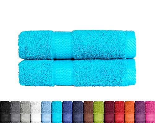 2er Pack Duschtuch in vielen Farben 100% Baumwolle 500 g/m², 2X Duschtücher 70x140 cm Türkis