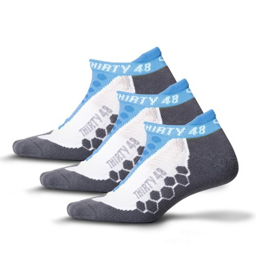 Thirty48 - Ru Cushioned Running Socks Series, with CoolMax Fabric Keeps Feet Cool and Dry , 3 Pack Blue/Gray , Small
