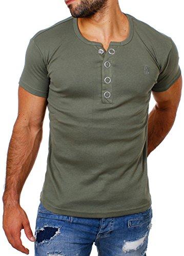 Young & Rich Herren Uni feinripp T-Shirt mit Knopfleiste & tiefem Ausschnitt deep V-Neck einfarbig Big Buttons große Knöpfe 1872, Grösse:L;Farbe:Militär-Grün