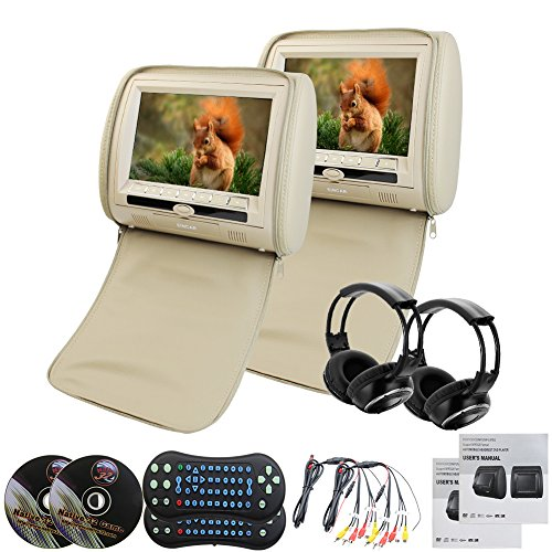 """9\""""LCD Beige Coppia di Digital LED poggiatesta Cuscino Monitor con lettore DVD Sony Regione USB libera SD a 32 bit giochi Ziper Copertine + 2 cuffie senza fili a infrarossi"""