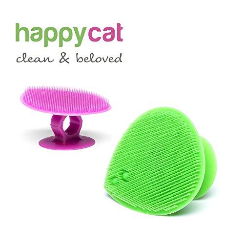 Spazzola in Silicone per Massaggi e Pulizia del Tuo Gatto (Una Spazzola Fucsia o Verde)