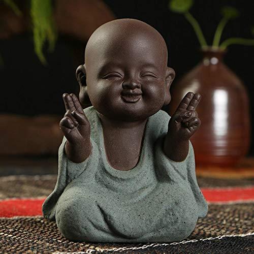 LKXZYX Statue Bouddha Statuette Exterieur boudha Deco Interieur Jardin Grande Miniature Statues de Bouddha Petit Moine Décoration Géomantique Figurines Sable Mauve Théière