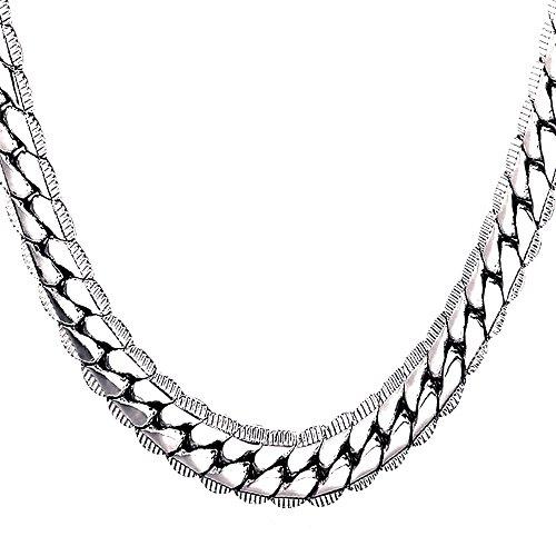 U7 Herren Erbskette Halskette 9 mm breit Rundpanzerkette - Mesh Englische Collier Weißgold überzogen Gliederkette für Männer Jungen 66cm lang, Silber
