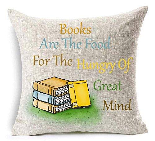 2018 F/W Book Lover Lezen Boek Club Boeken Zijn Het Voedsel Voor De Hongerige Van Grote Geest Katoen Linnen Decoratieve Gooi Kussen Hoesje Kussen Cover Vierkant 18X18