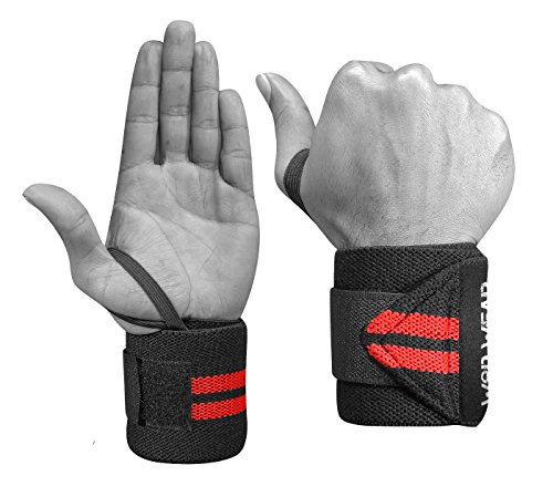 WOD Wear Elastic Wrist Wraps for Powerlifting, Strength Training, Bodybuilding, Cross Training, Olympic Weightlifting, Yoga Support - One Size Fits All - 100% (Red Stripes)